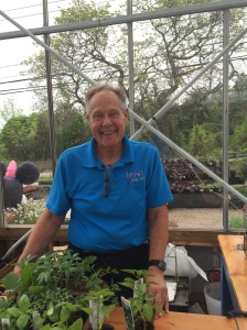 Jim, the greenhouse Manager- always happy!